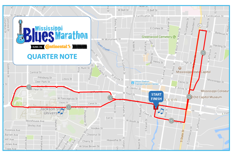 ms blues quarter marathon map