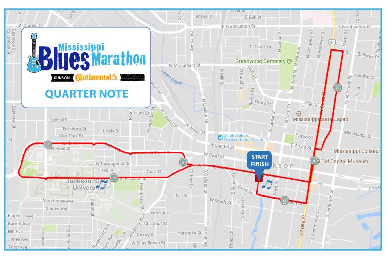 ms blues quarter marathon map