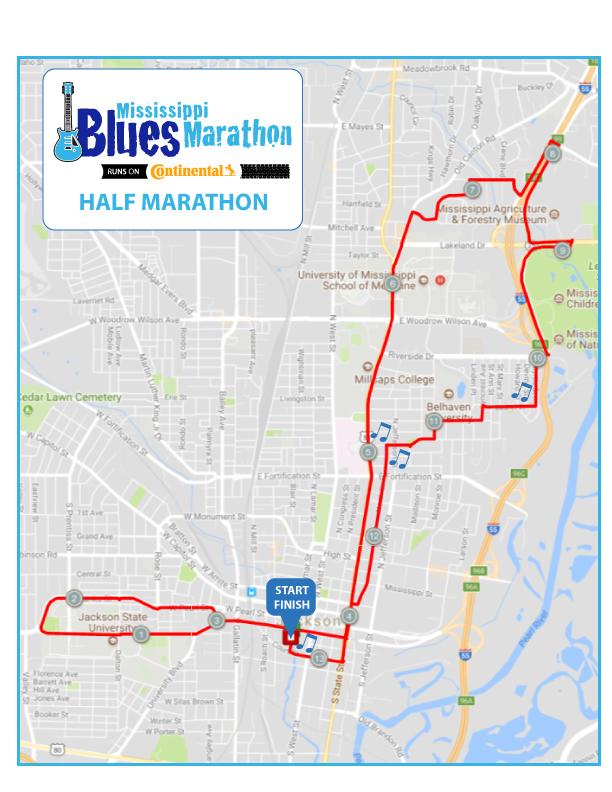 Mississippi Blues Half Marathon Map